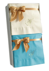 Single Letter Monogram Napkin Gift Set in Choice of Colors