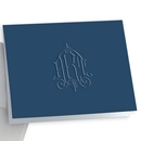 Whitlock Monogram Navy Note Cards on Triple Thick Stock