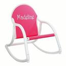 Hot Pink Canvas<br> Children's Rocking Chair <br>with White Frame