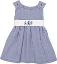 Navy Gingham Pique Dress with White Sash
