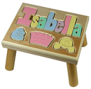 Personalized Princess Step Stool in Natural Maple