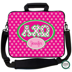 Alpha Chi Omega Letters on Dots Laptop Bag
