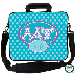 Alpha Delta Pi Letters on Dots Laptop Bag