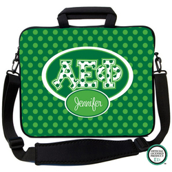 Alpha Epsilon Phi Letters on Dots Laptop Bag