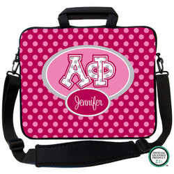 Alpha Phi Letters on Dots Laptop Bag