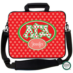 Alpha Gamma Delta Letters on Dots Laptop Bag