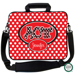 Alpha Omicron Pi Letters on Dots Laptop Bag