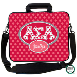 Alpha Sigma Alpha Letters on Dots Laptop Bag