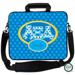 Alpha Xi Delta Letters on Dots Laptop Bag