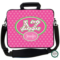 Delta Zeta Letters on Dots Laptop Bag