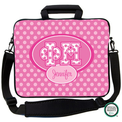Phi Mu Letters on Dots Laptop Bag