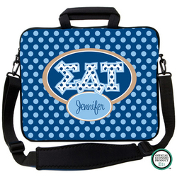 Sigma Delta Tau Letters on Dots Laptop Bag