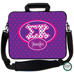 Sigma Kappa Letters on Dots Laptop Bag