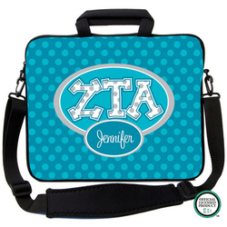 Zeta Tau Alpha Letters on Dots Laptop Bag