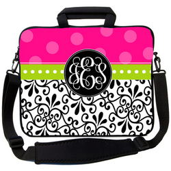 Hot Pink & Black Swirl Laptop Bag