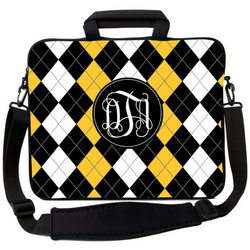 Black Yellow Argyle Laptop Bag