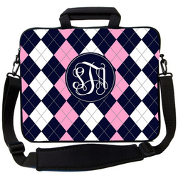 Navy & Pink Argyle Laptop Bag