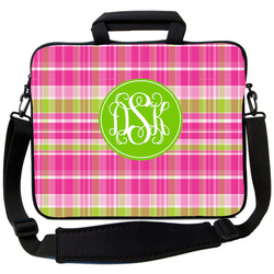 Preppy Pink and Green Laptop Bag