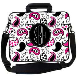 Black and Pink Paisley Laptop Bag