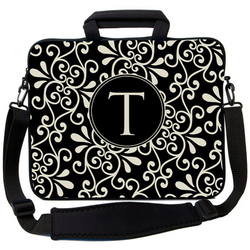 Black and Cream Swirl Laptop Bag
