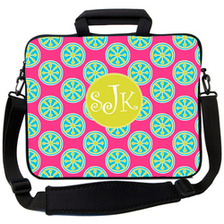 Pink Turquoise Wheels Laptop Bag