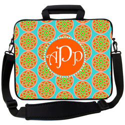 Orange and Turquoise Prep Laptop Bag