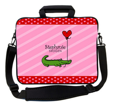 Pink Stripe Alligator Love Laptop Bag