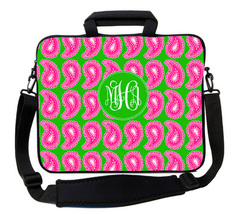 Paisley Preppy Pink and Green Laptop Bag