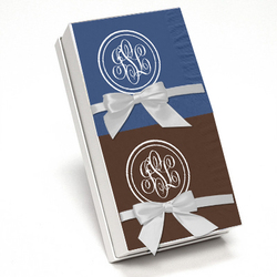 Double Circle Monogram Napkin Gift Set