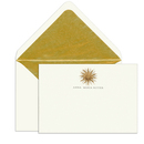 Elegant Note Cards with Engraved Gold Sun