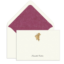 Elegant Note Cards<br> with Engraved Golden<br> Vineyard Cherub