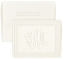 Embossed Classic Frame Monogram Foldover Note Cards with Double Thick Stock