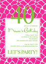 Giraffe Pattern Party Invitations