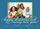 Blue Bright Simple Frame Holiday Photo Cards