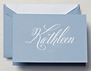 Hand Engraved Name on Dalton Blue Note Cards