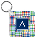 Blue Madras Patch Key Chain