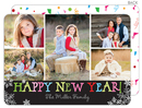 Scatter Snowflake New Year Flat Holiday Photo Cards
