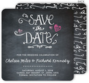 Hearts Chalkboard Save the Date Announcements