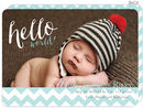 Turquoise Chevron Lines Photo Birth Announcements