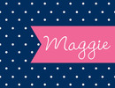 Navy Pink Banner Foldover Note Cards
