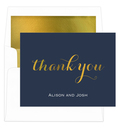 Thank You Foldover Foil Stamped Note Cards with Lined Envelopes