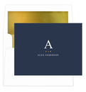 Initial Indicator Foil-Pressed Foldover Note Cards with Lined Envelopes