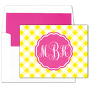 Yellow Gingham Monogram Foldover Note Cards