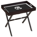 Black Wood Serving Tray with White Circle Monogram Plus Wood Stand
