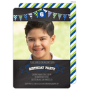 Blue Birthday Banner Invitations