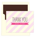 Pink Striped Thank You Note Cards
