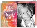 Merry Happy Watercolor Flat Holiday Photo Cards