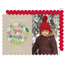 Tan Merry and Bright Wreath Photo Cards