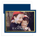 Navy and Gold Foil Border Hanukkah Photo Cards