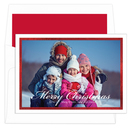 White and Red Foil Border Photo Cards